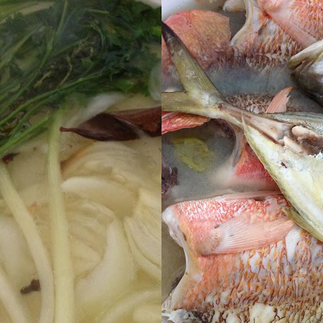 blaff, poisson, cuisine antillaise, bouillon, herbes