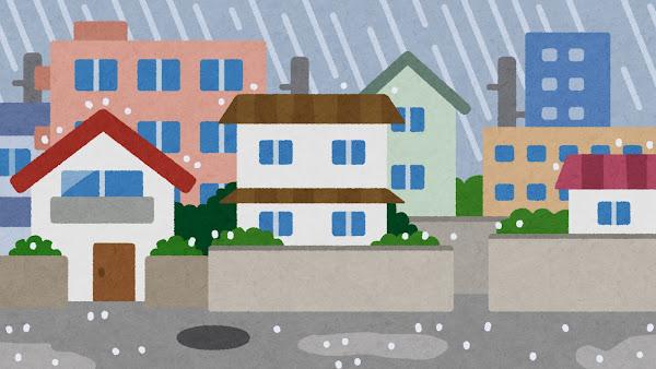 雨が降る住宅街のイラスト(背景素材)
