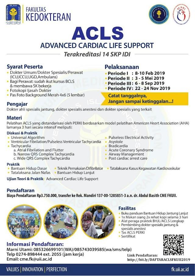 Jadwal Pelatihan ACLS (14 SKP IDI) FKUII-PERKI Tahun 2019
