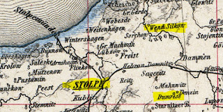Map excerpt: Pomerania, Stolp County, Dumrese and Wend Silkow highlighted
