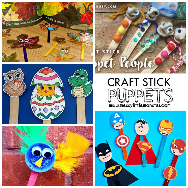 20+ of the best craft stick (lollipop stick / popsicle stick) puppet art and craft idea for kids.