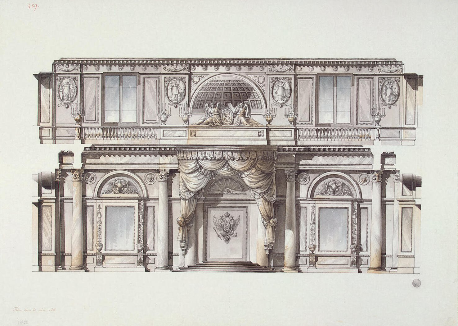 Design of the st george hall in the winter palace for Drawing hall design