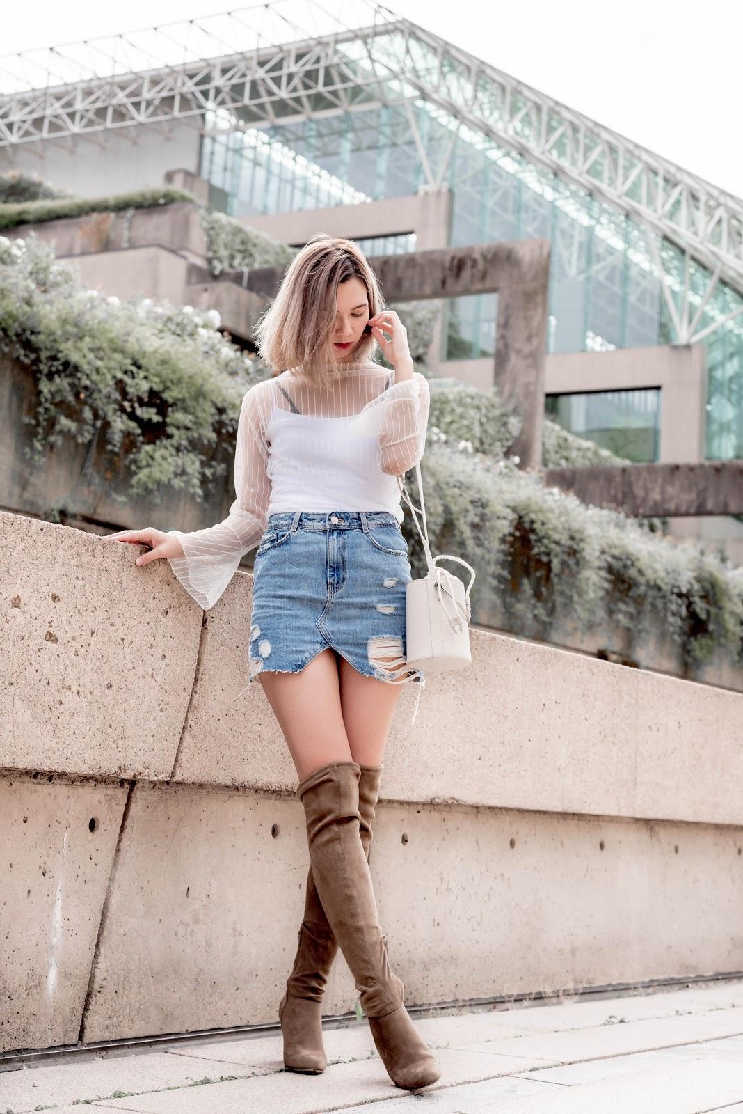Oak and Fort, mesh top, denim skirt, bucket bag, stuart weitzman, over the knee boots, vancouver fashion, canadian fashion, fashion blogger,  fashion blog, zara
