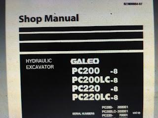 Shop Manual komatsu Galeo pc200-8 pc200lc-8 pc220-8 pc220lc-8