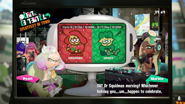 Splatoon 2 Splatfest Marina Squidmas morning holiday celebrate sweaters socks