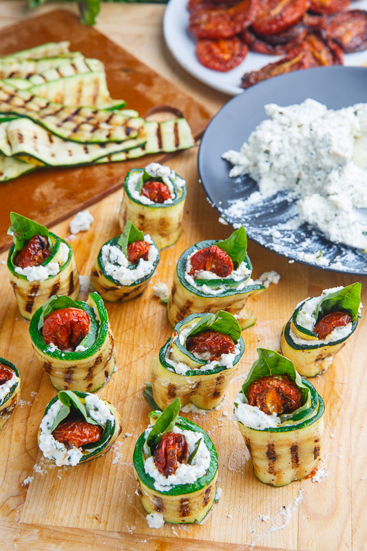 Grilled Zucchini Rollups Stuffed with Lemon-Basil Ricotta and Slow Roasted Tomatoes