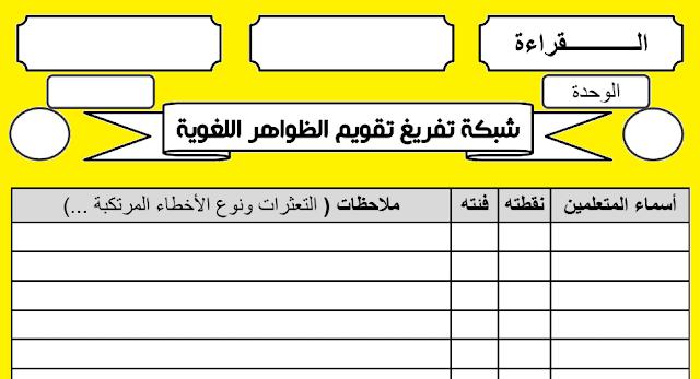 شبكات تفريغ نتائج التقويم و الدعم للمستوى الثالث لمادة اللغة العربية وفق المنهاج المنقح