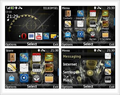 Dark theme for Nokia Asha 302, Asha 201, Asha 200, C3-00, X2-01,