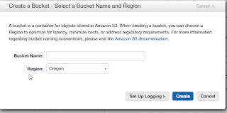 Create Bucket Wizard Amazon S3