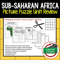 Sub-Saharan Africa, World Geography Picture Puzzle BUNDLE, Test Prep, Unit Review, Study Guide