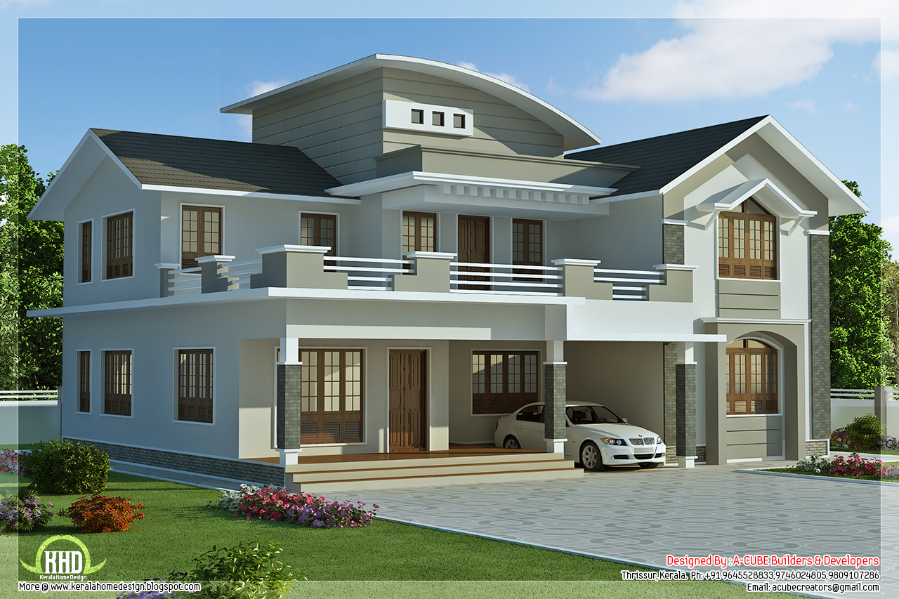 2960 4 bedroom villa design kerala home design for Exterior villa design photo gallery