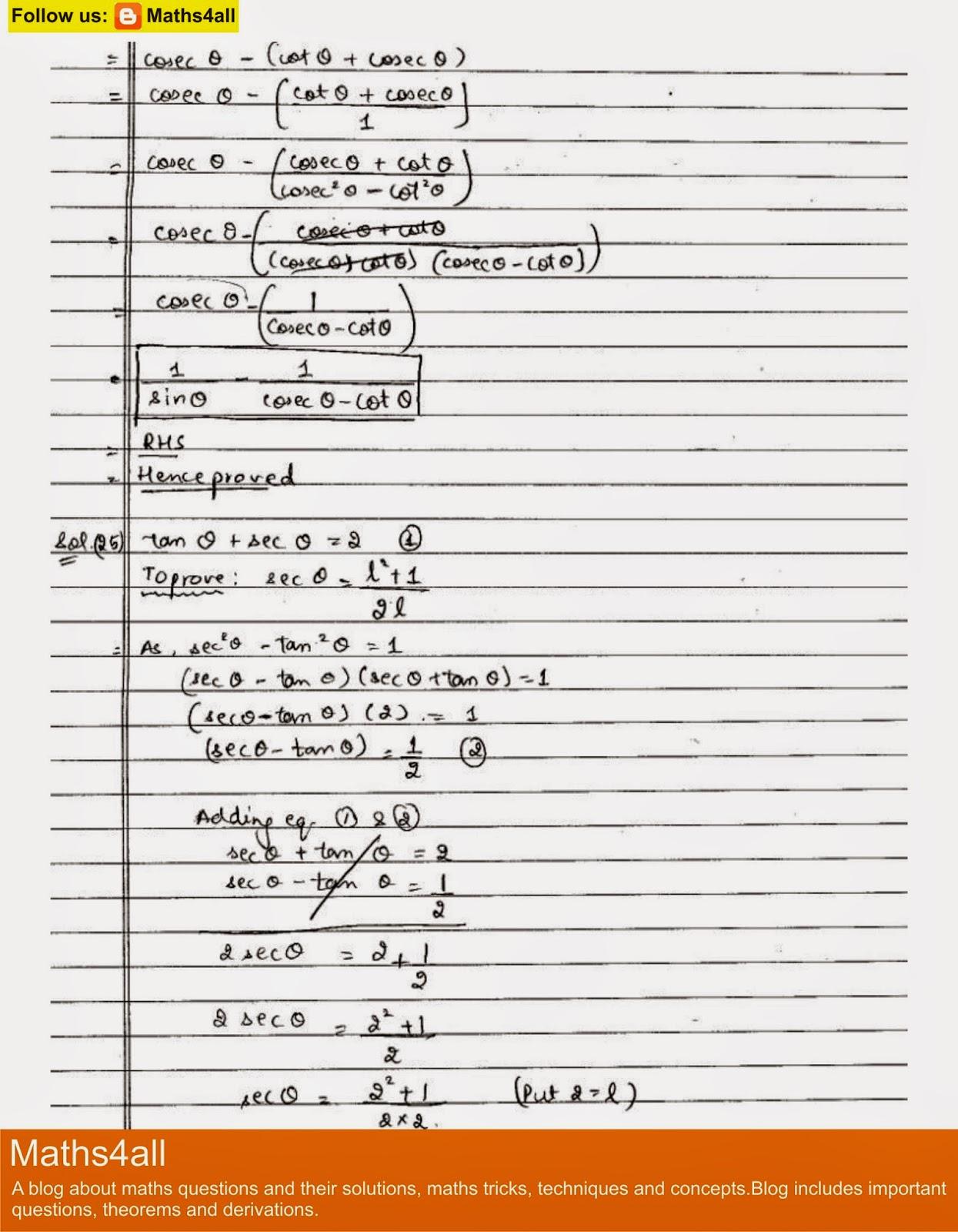 Solution Of Class X Trigonometry Assignment Summer Field