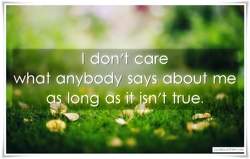 I Don't Care What Anybody Says About Me