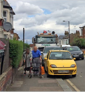Photo showing pavement parking makes walking unsafe or even impossible