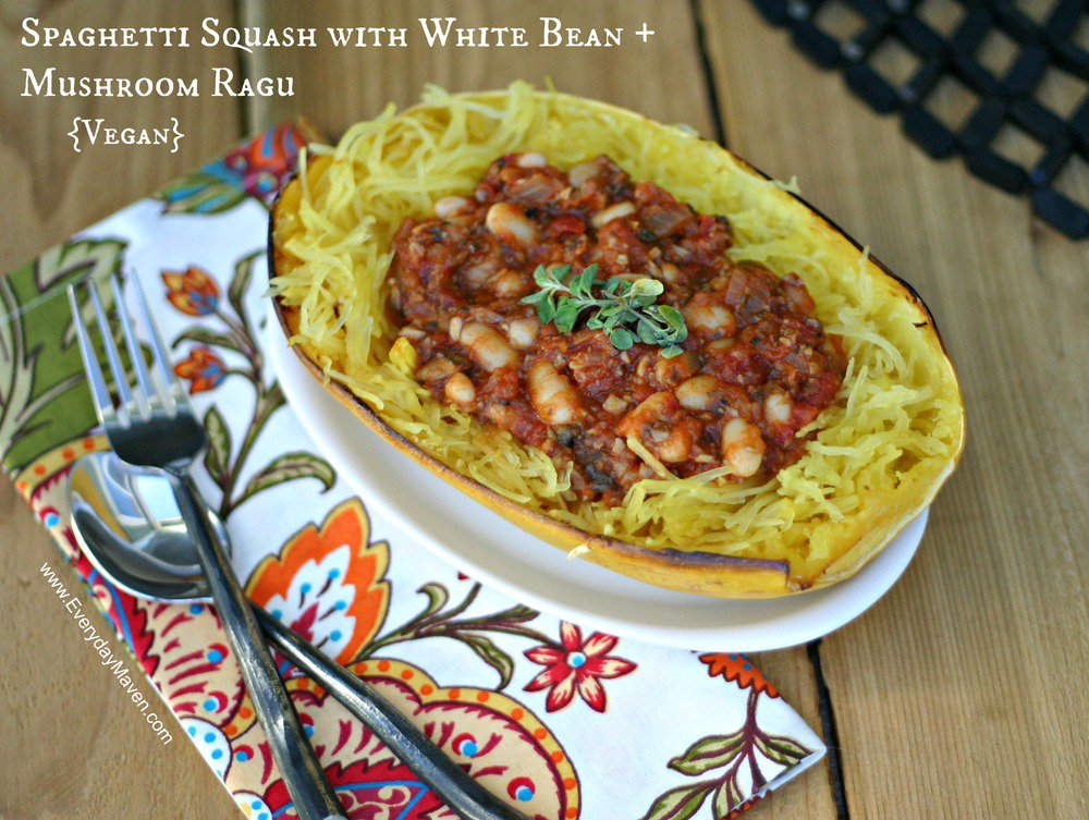 Vegan Roasted Spaghetti Squash with White Bean and Mushroom Ragu by Everyday Maven