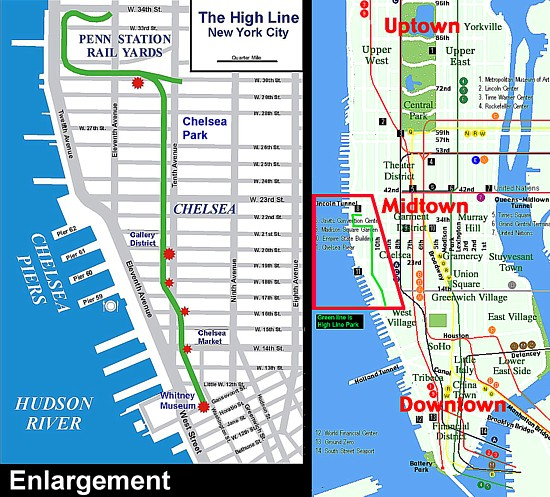 the red spots on the left map mark entryexit locations the map at right places the park in relationship to the rest of the city