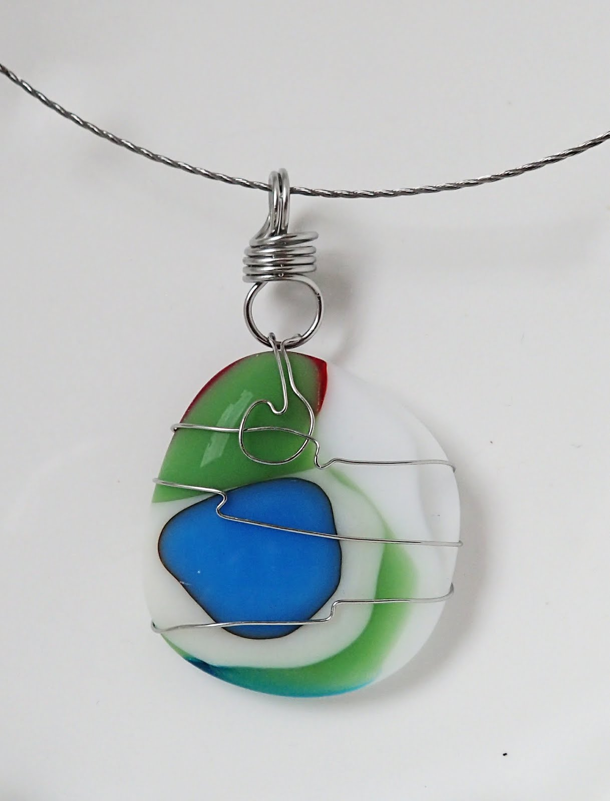 pendant wing on rainbow swallowtail glass fused by art fusedelegance