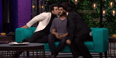 Ranbir Kapoor & Ranveer Singh Kissing Arjun Kapoor on Koffee With Karan Season 5