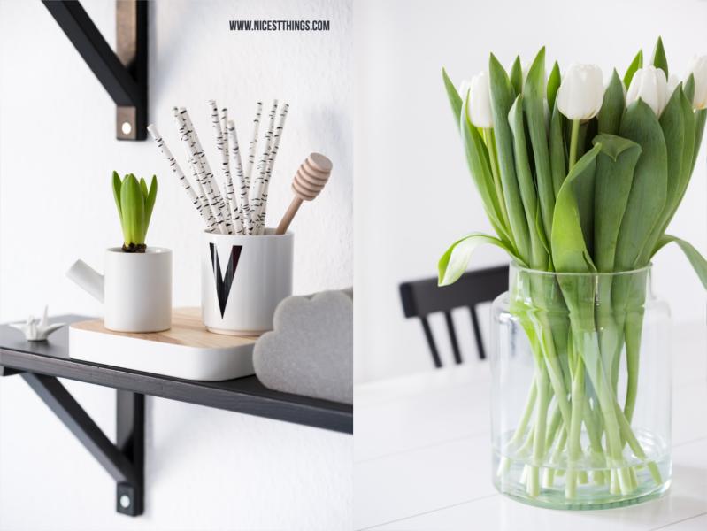 Schlichte Deko im Januar mit weissen Tulpen