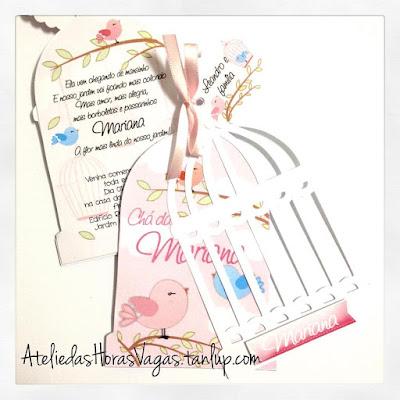 convite artesanal personalizado aniversário infantil chá de bebê chá de fraldas gaiola de passarinho jardim rosa