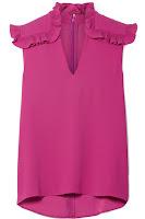 Блузка цвета фуксии с рюшами