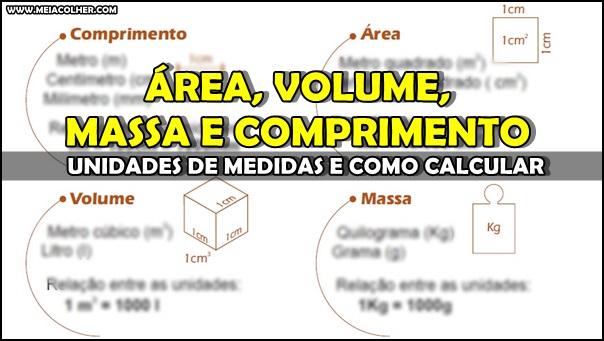 diferença de area volume massa comprimento