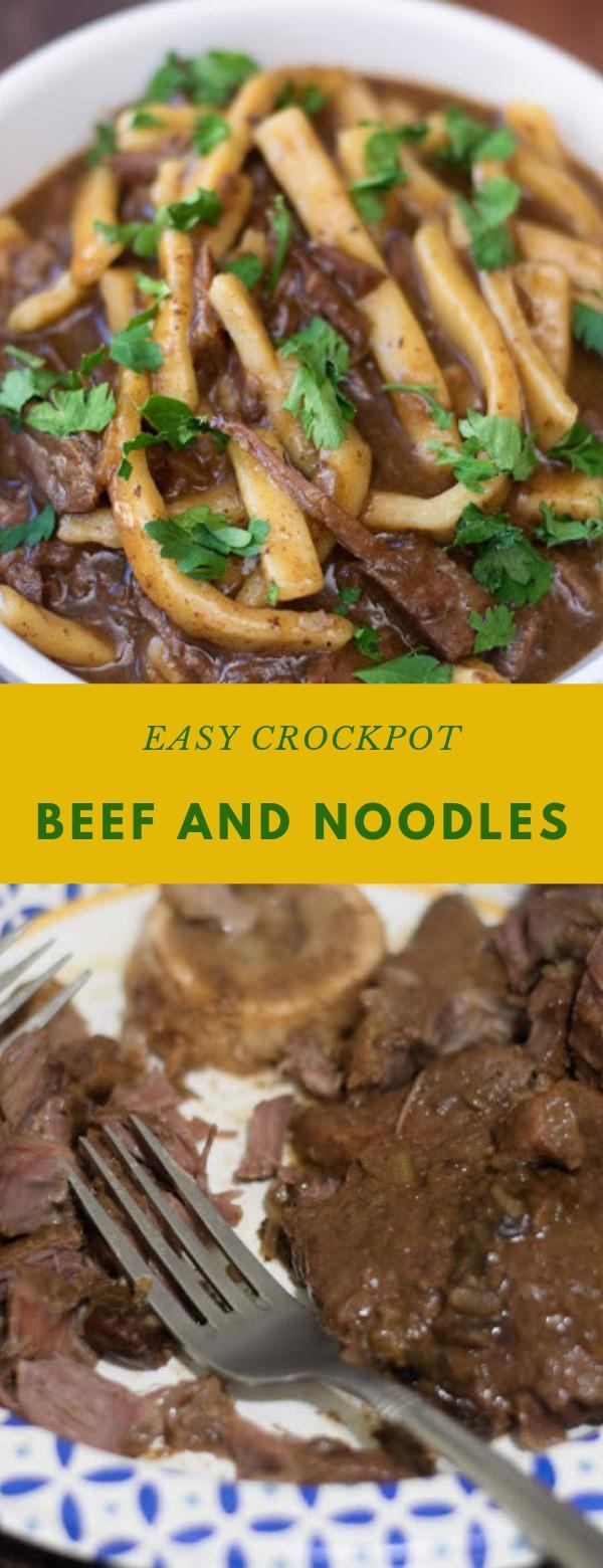EASY CROCKPOT BEEF AND NOODLES RECIPE #CROCKPOT #EASYRECIPES