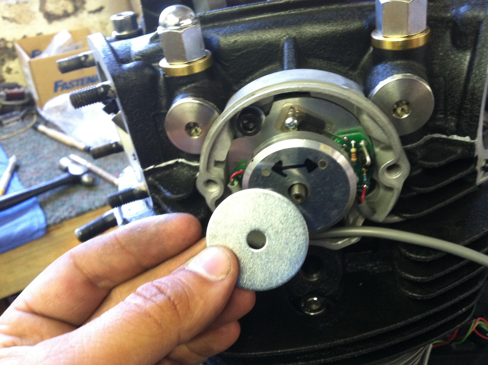 small resolution of another small dab of blue locktite and tighten the nut onto the advance rod