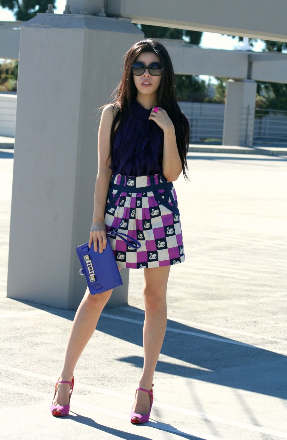 Purple Business casual Look with Ruffled Blouse and Swan Purple Mini Skirt_Adrienne Nguyen_Invictus