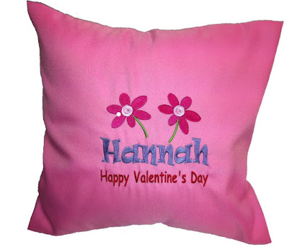 Pink cushion with customized embroidery for Valentine's Day gift