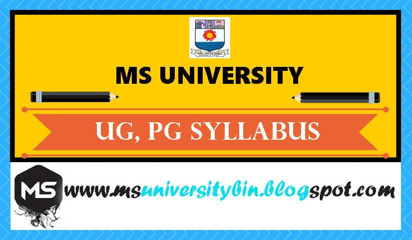 MS University B Sc Mathematics Syllabus 2nd Year and 3rd Year