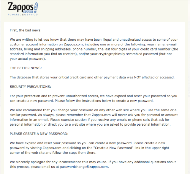 Tricks And Tweaks: Zappos A Division Of Amazon Got Hacked