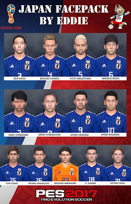 PES 2017 Facepack Japan National Team World Cup 2018 by Eddie Facemaker
