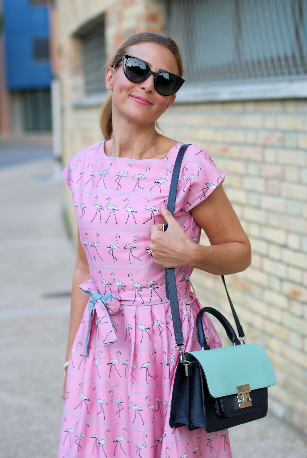 Bryony and Co flamingo dress on Fashion and Cookies fashion blog, fashion blogger style