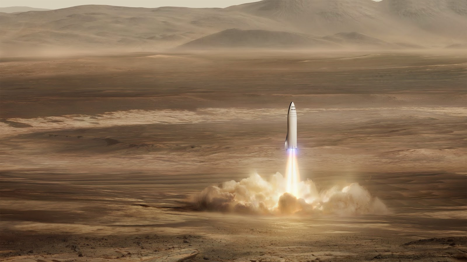 SpaceX BFR spaceship landing on Mars