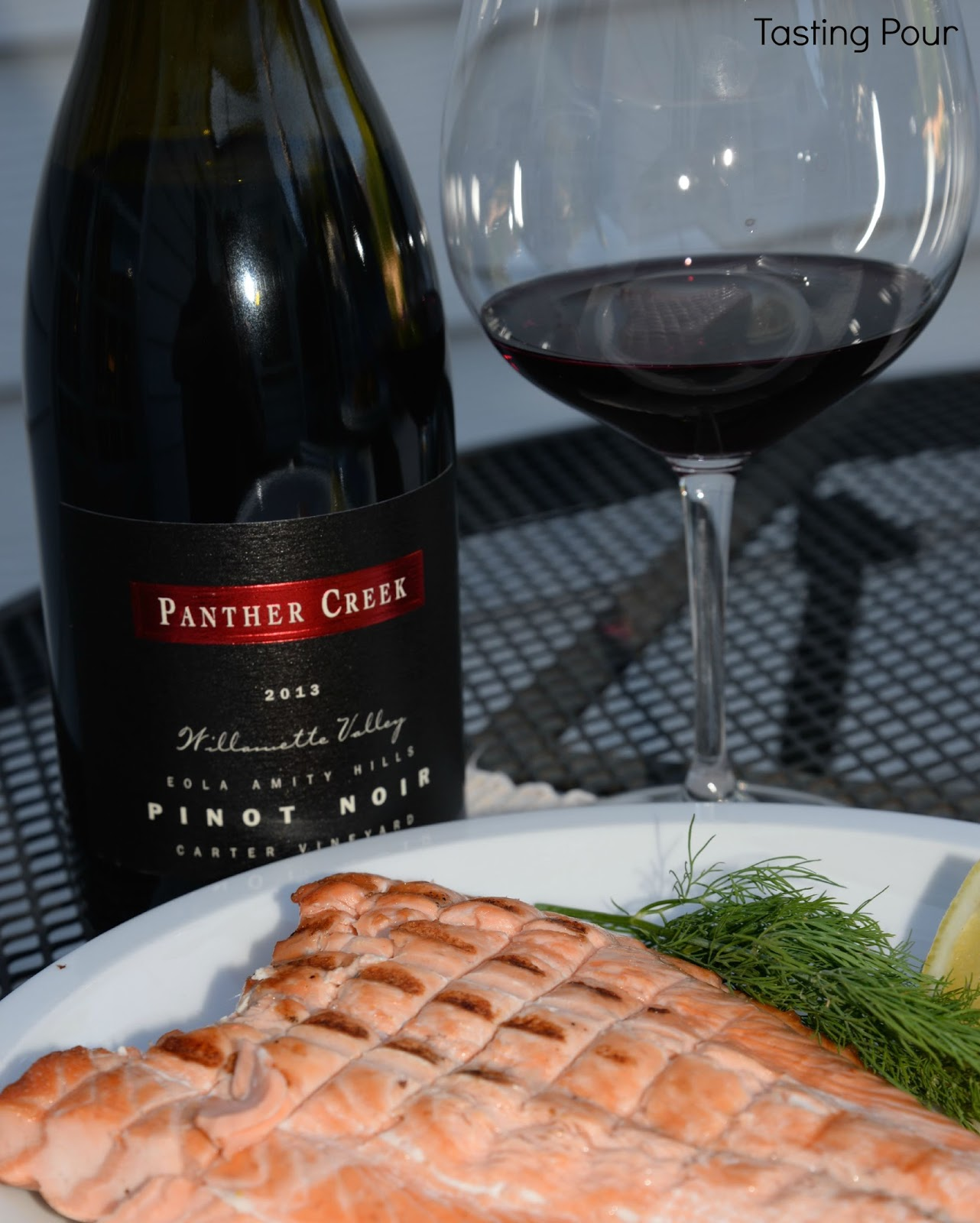 Panther Creek Cellars Carter Vineyard Pinot Noir and Salmon & Panther Creek Cellars Pinot Noir Pairings - Tasting Pour by Jade Helm