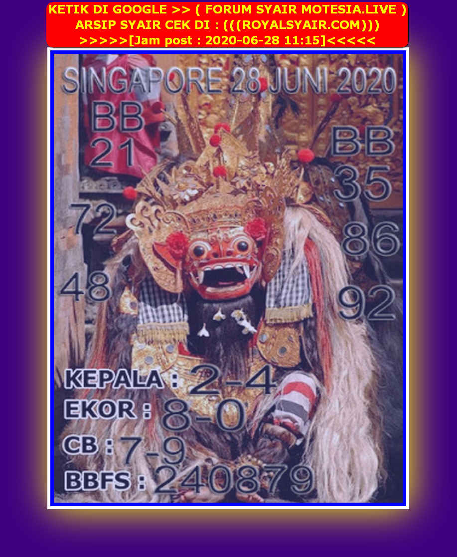 Kode syair Singapore Minggu 28 Juni 2020 122