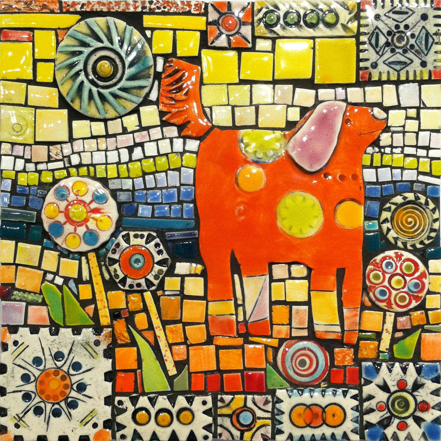 Sold orange dog in his field handmade ceramic tile mosaic lynn sold orange dog in his field handmade ceramic tile mosaic lynn ihsen peterson dailygadgetfo Gallery
