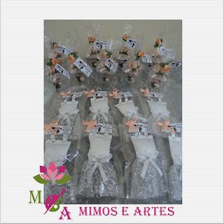 Lembrancinha para madrinhas mini vestido de noiva