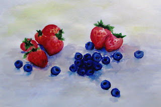 ягоды акварель