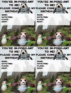 Porg Birthday Party Invites - 4 per page - Star Wars The Last Jedi