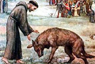 El lobo de Gubbio, amansado por el santo