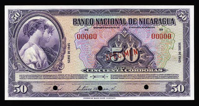 Paper Money Nicaraguan currency 50 Cordobas banknote