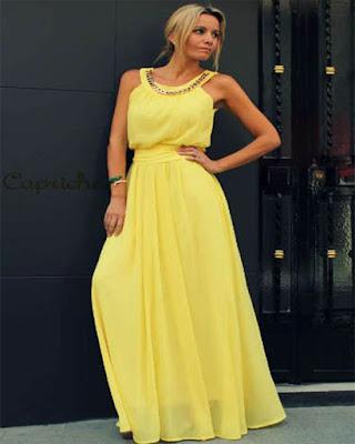 vestido amarillo largo de fiesta elegante