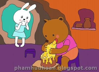 Thế là gấu con liền chui tọt vào hang của thỏ con và ăn mật ong liên tục.  Bụng của gấu con cứ to dần lên mãi. Cứ to dần lên mãi…