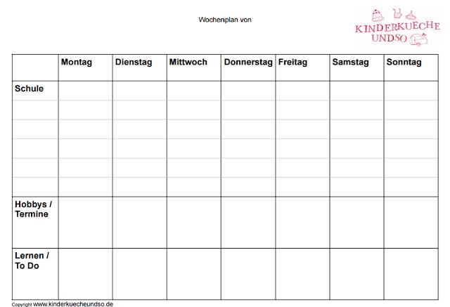 Stundenplan für Grundschüler mit Platz für Hobbys und Termine