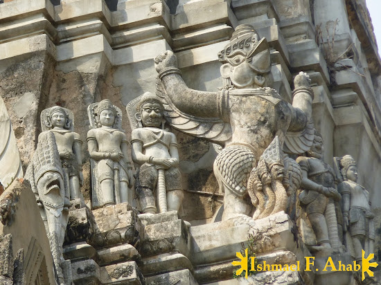 Buddhist and Hindu statues on Wat Ratchaburana, Ayutthaya Historical Park, Thailand