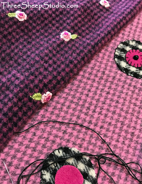 Houndstooth Wool Strawberries by Rose Clay at ThreeSheepStudio.com