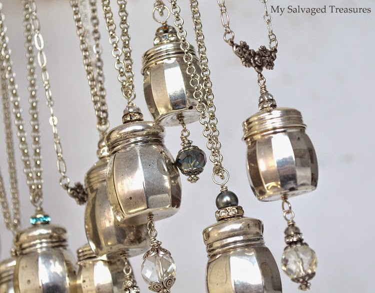 jewelry made from sterling salt shakers