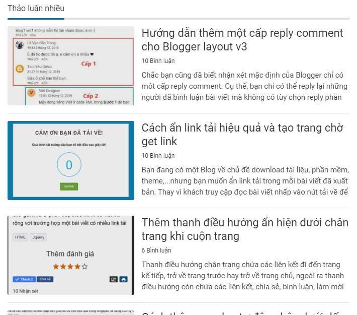 Tạo widget xếp hạng các bài đăng có bình luận nhiều nhất